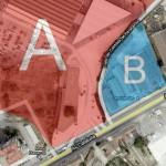 Señalamos como A y B las dos propiedades separadas por la calle